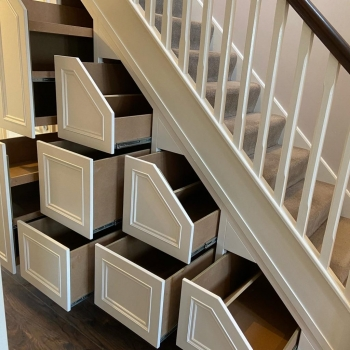 six drawer and double shoe rack unit , unfinished insides