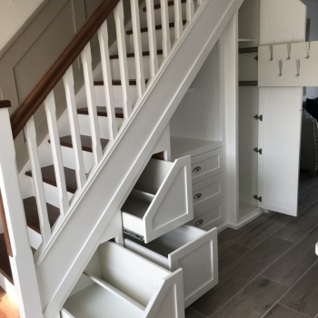 Six drawer with open dresser style centre and large pull out coat rack