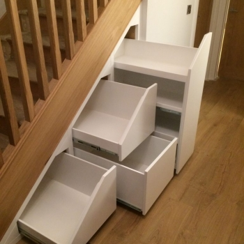 Three drawer flat fronts with 4 shelf shoe rack, white inside